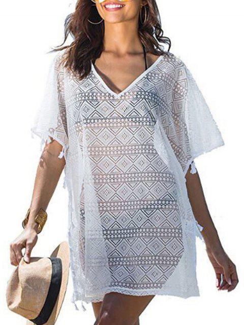 Lace Tassel Trim Batwing Sleeve Tunic Cover Up - WHITE ONE SIZE