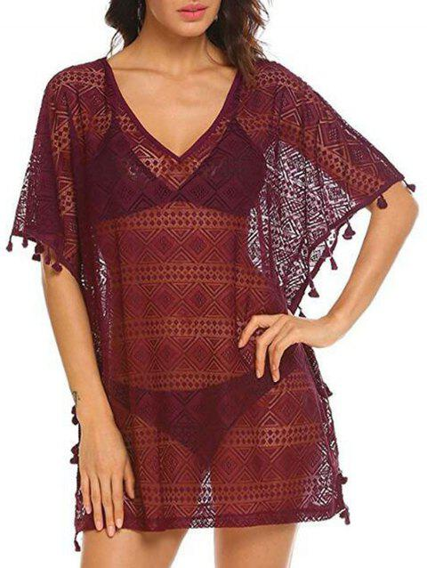 Lace Tassel Trim Batwing Sleeve Tunic Cover Up - FIREBRICK ONE SIZE
