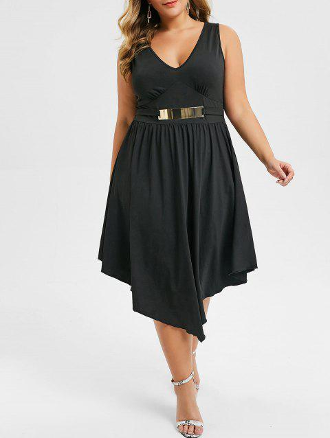 Plus Size Plunge Asymmetric Sleeveless Dress - BLACK 1X