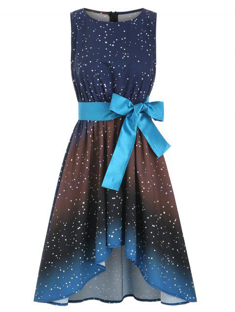 Sleeveless Galaxy Print High Low Belted Dress - multicolor 3XL