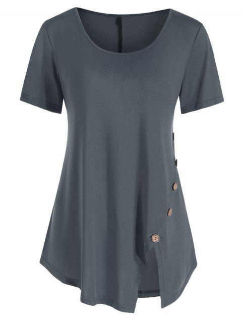 Button Embellished Slit Longline T-shirt - BATTLESHIP GRAY L