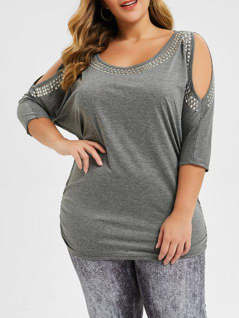 Rivet Cold Shoulder Ruched Plus Size Batwing Top - GRAY GOOSE 5X