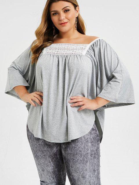 Lace Panel Marled Plus Size Dolman Sleeve Top - GRAY CLOUD 4X
