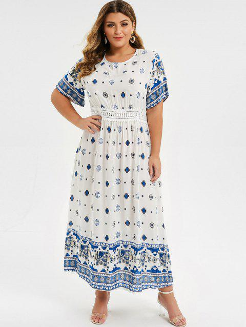 Plus Size Bohemian Flower Print Cut Out Lace Insert Dress