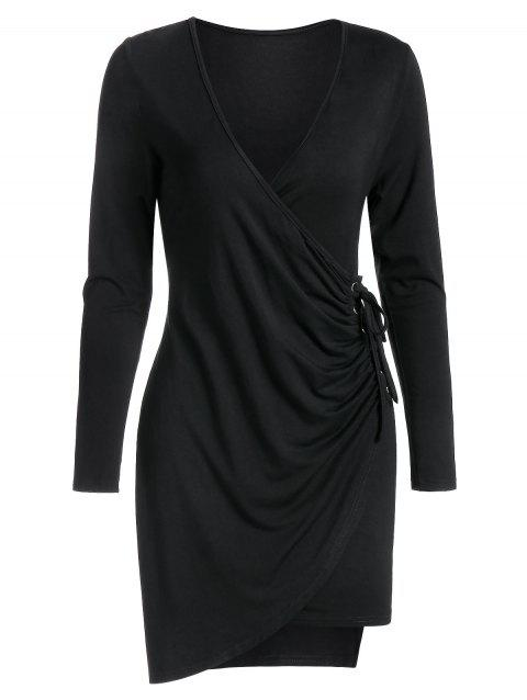 Asymmetric Long Sleeve Lace-up Sheath Dress - BLACK XL