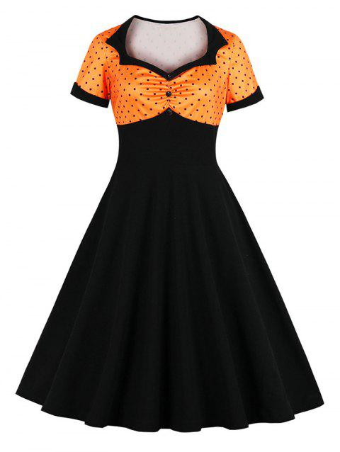 Polka Dot Cuffed Plus Size Vintage Dress - multicolor A 4X
