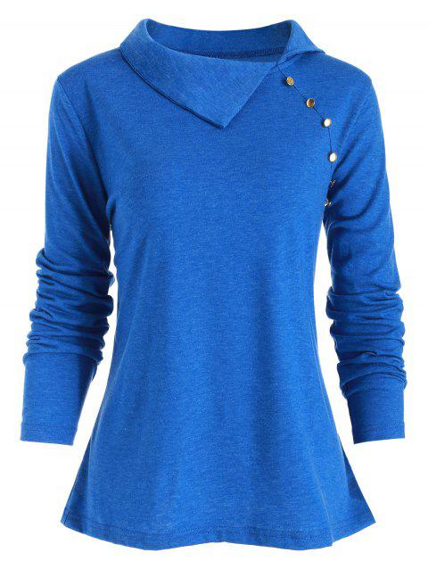 Heather Button Embellished Turn-down Collar T-shirt - OCEAN BLUE S