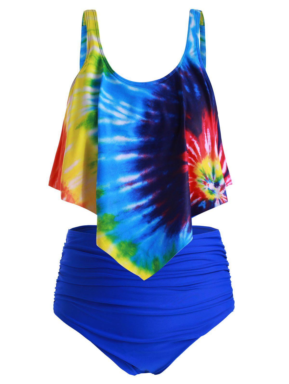 Plus Size Ruffled Tie Dye Ruched Tankini Swimsuit - multicolor B 2X