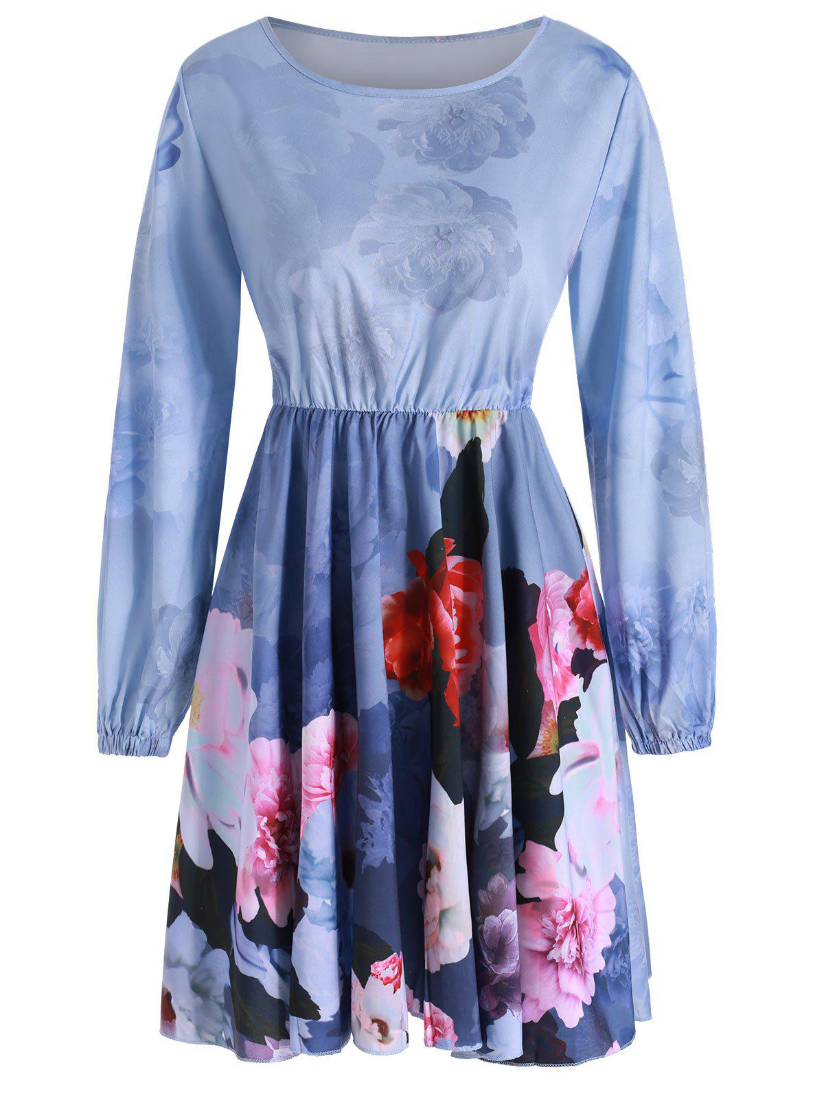 Floral Print Long Sleeves Flare Dress - BLUE GRAY L