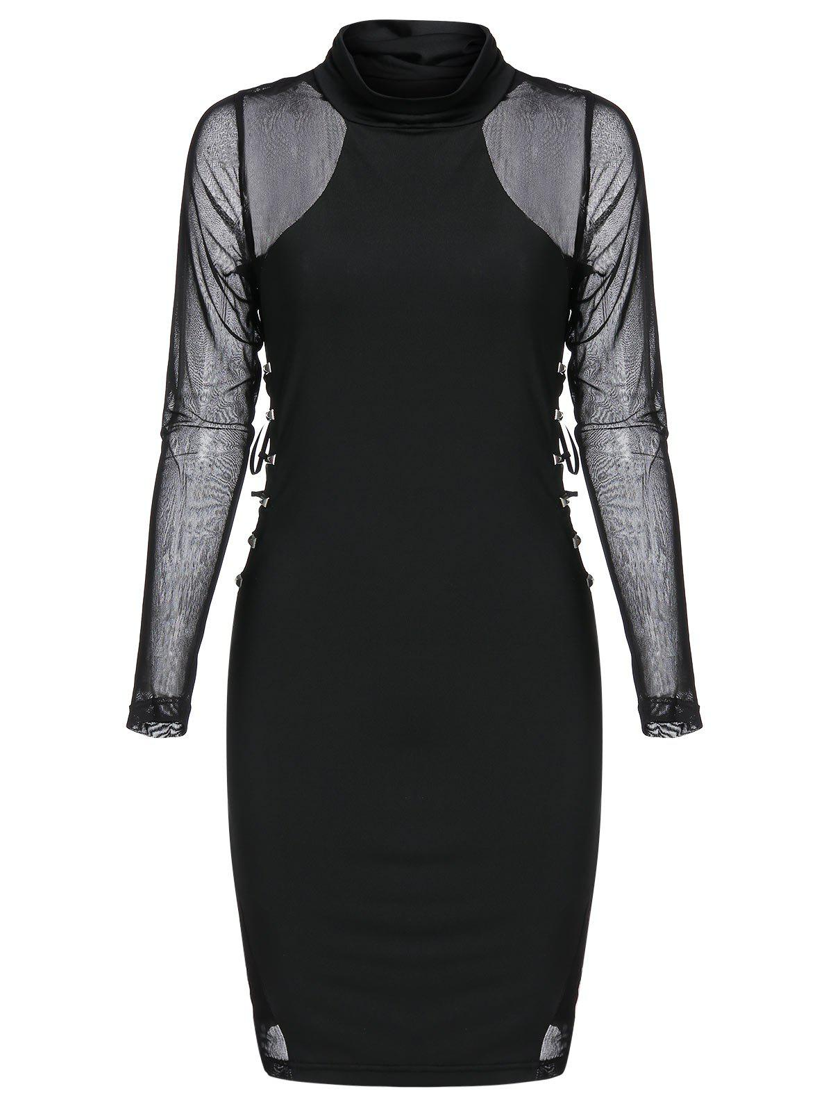 Rivet Embellished Mesh Insert Lace-up Gothic Bodycon Dress - BLACK XL