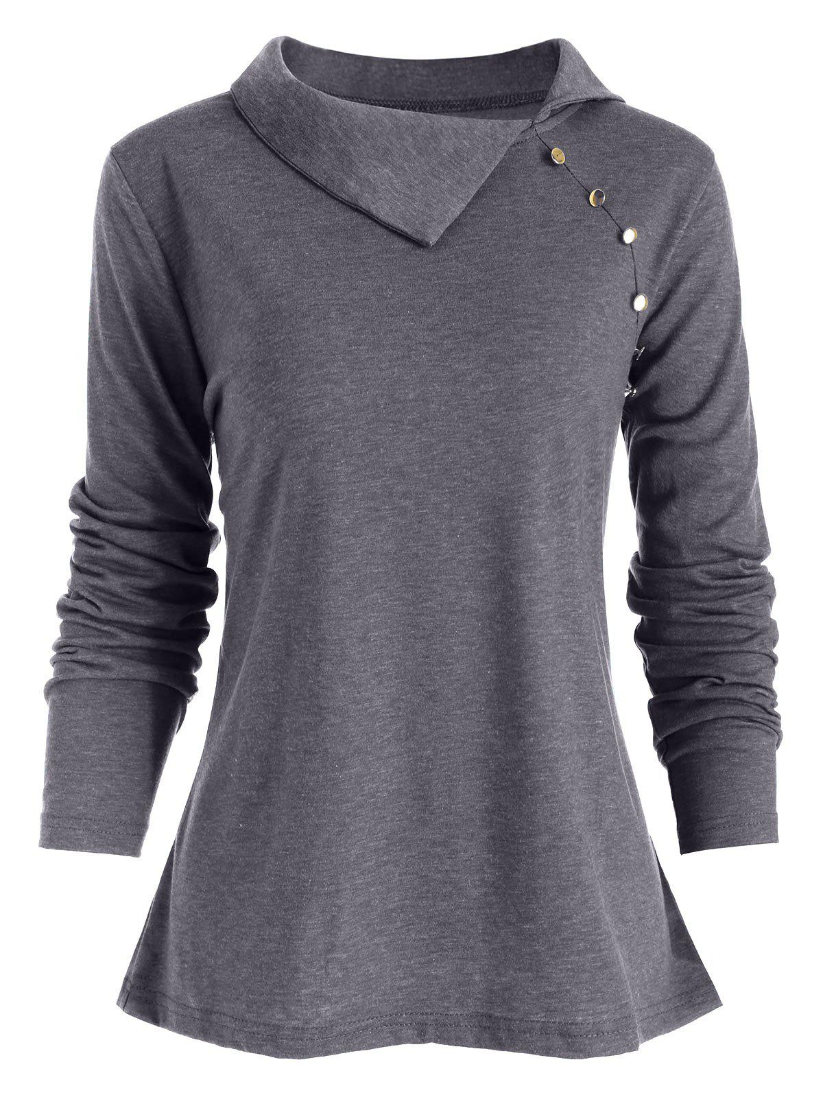 Image of Heather Button Embellished Turn-down Collar T-shirt