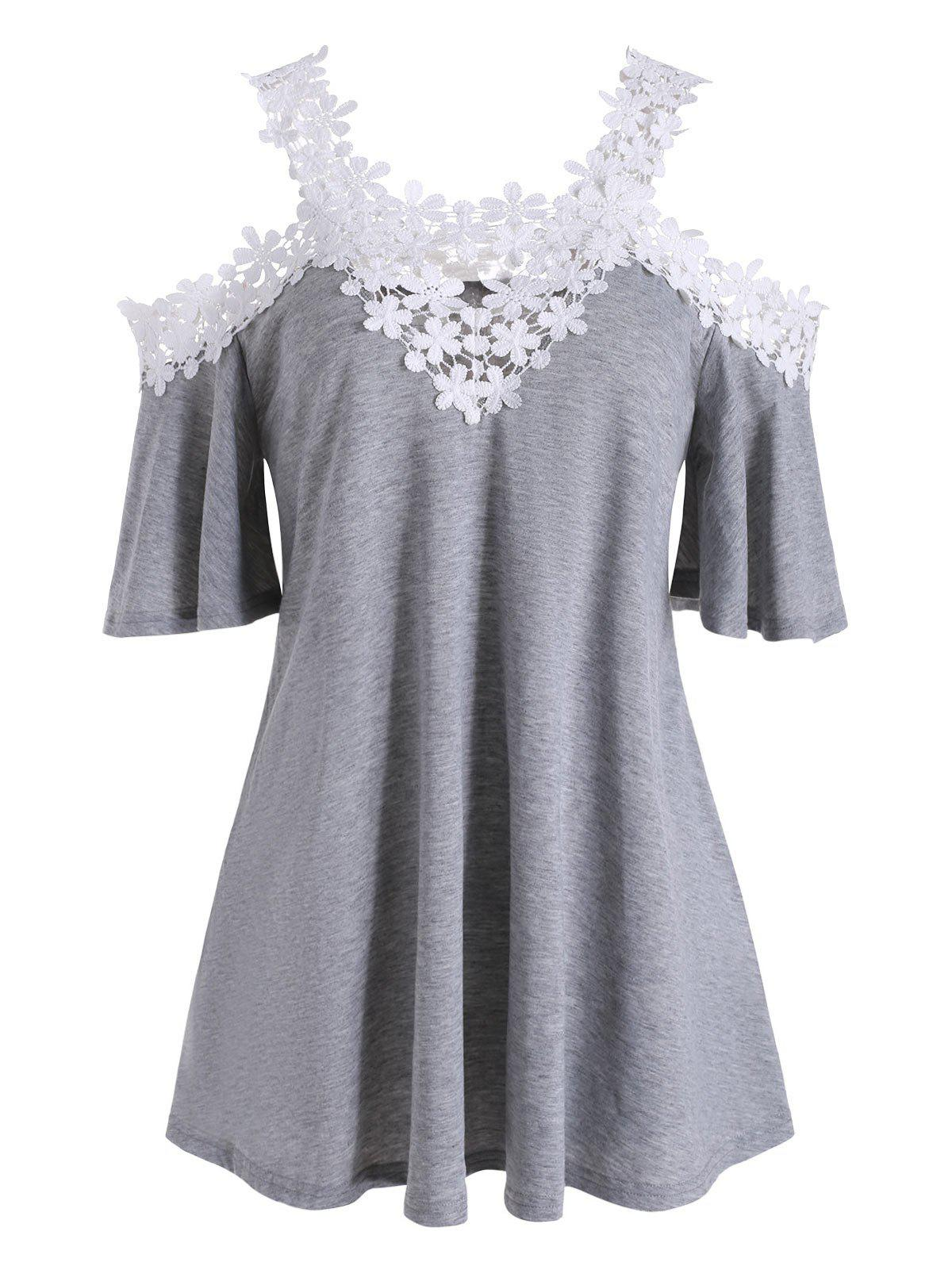 Floral Lace Cold Shoulder Longline Tee - GRAY 3XL