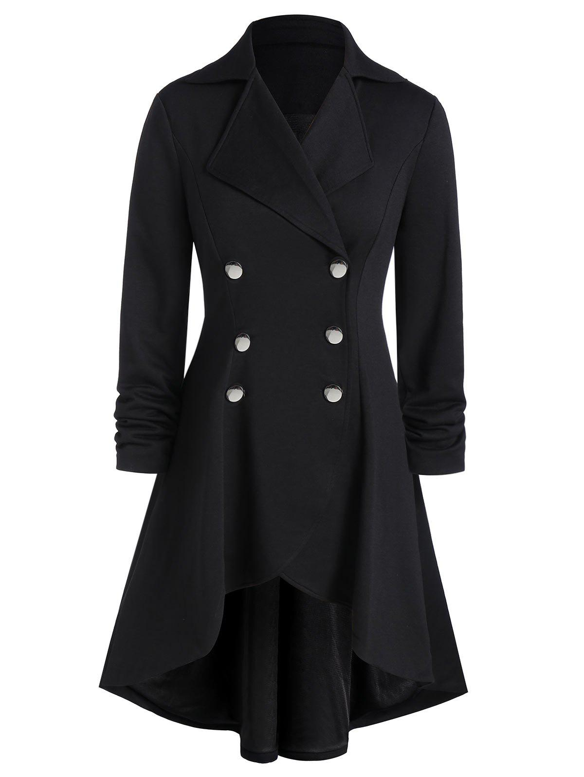 Plus Size Asymmetric Grommet Buckle A Line Coat