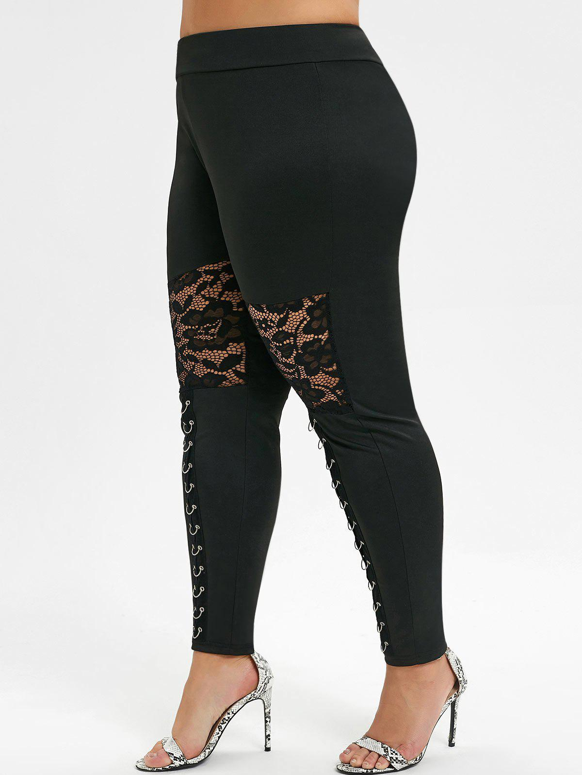 Lace Panel Ring Grommet Plus Size Leggings - BLACK 5X