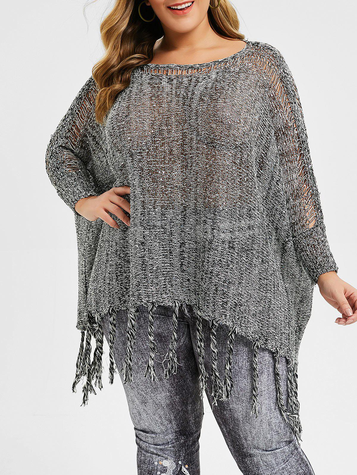 Sequined Fringed Ripped Plus Size Batwing Sleeve Sweater - GRAY CLOUD ONE SIZE