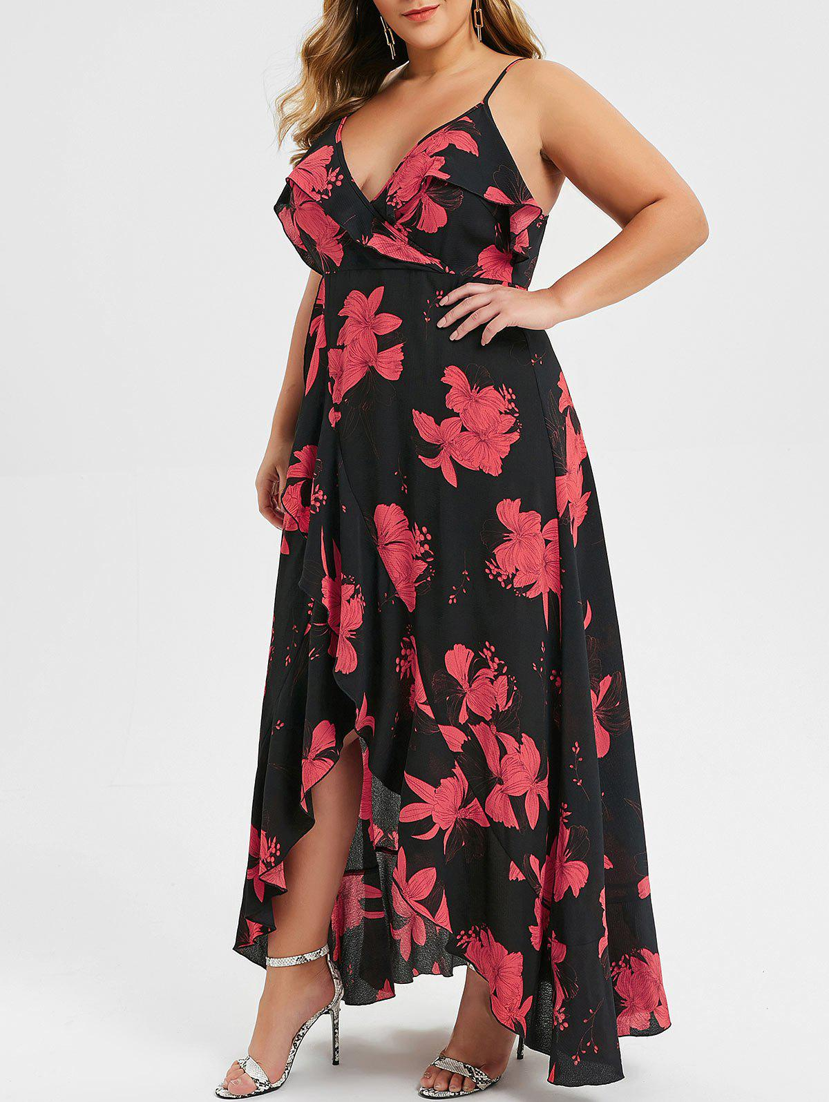 Plus Size Cami Split Flounce Maxi Dress - BLACK 3X