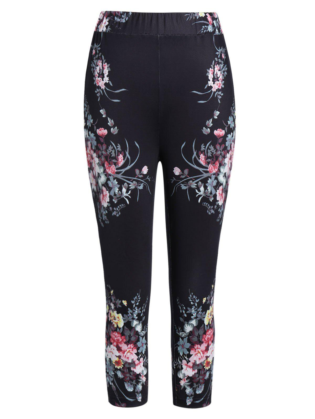 Flower Print High Waisted Capri Leggings - BLACK 2XL