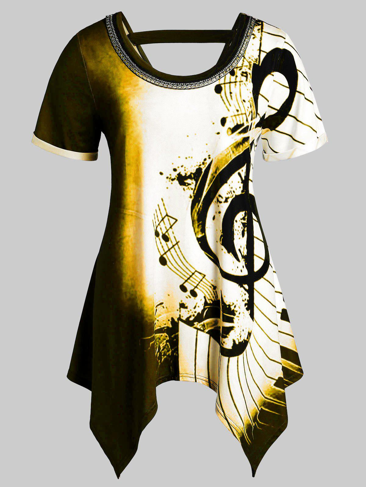 Plus Size Asymmetrical Musical Notes Print Chains Embellished Tee фото
