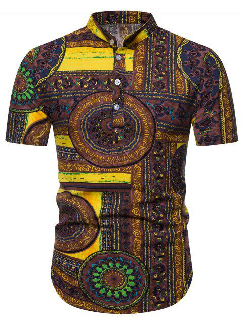 Ethnic Geometric Pattern Short Sleeves Shirt - DEEP COFFEE 3XL