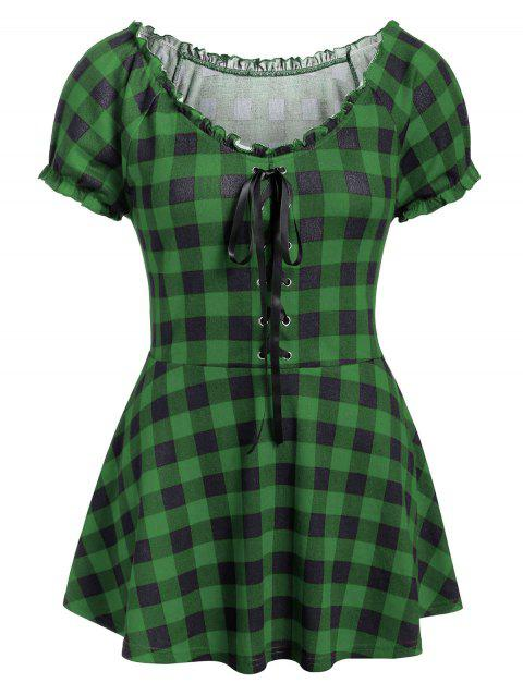 Plus Size Lace Up Plaid Round Collar T Shirt - JUNGLE GREEN 4X