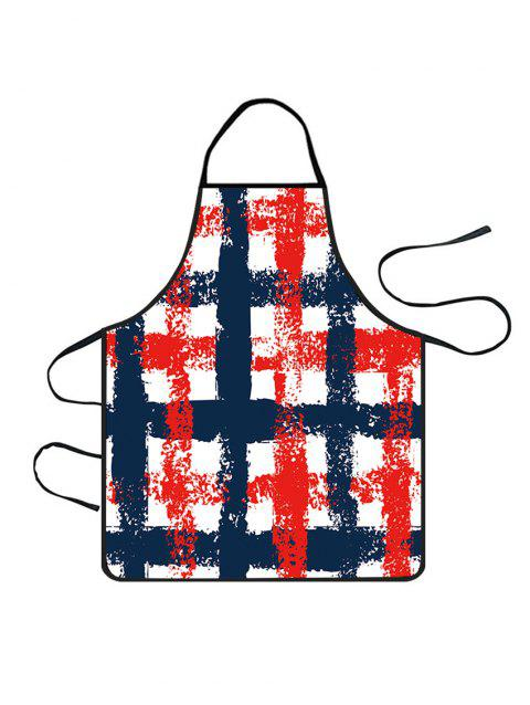 Plaid Print Waterproof Kitchen Apron - MIDNIGHT BLUE