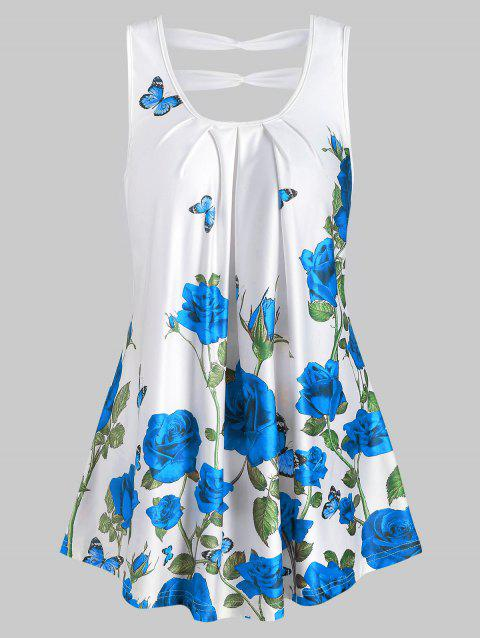 Rose Print Scoop Neck Pleated Tank Top - BLUEBERRY BLUE L