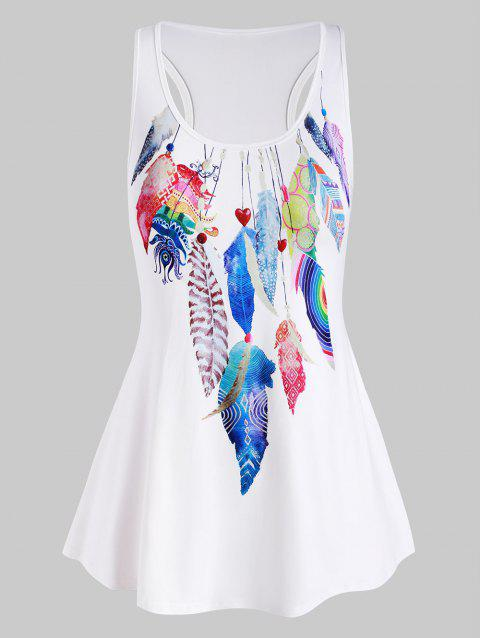 Colorful Feather Racerback High Low Plus Size Tank Top - WHITE 4X