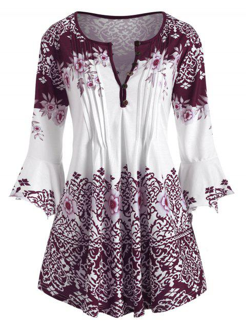 Plus Size Bell Sleeve Tribal Print Pleated Blouse - RED WINE 5X