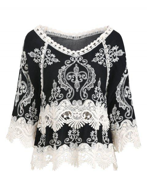 Embroidered Crochet Panel Cover-up - BLACK L