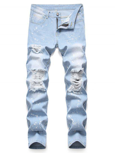 Splatter Paint Ripped Pencil Denim Pants - LIGHT BLUE 42