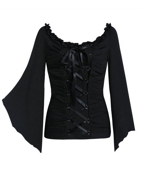 Flare Sleeve Lace-up Ruched Gothic T-shirt - BLACK XL