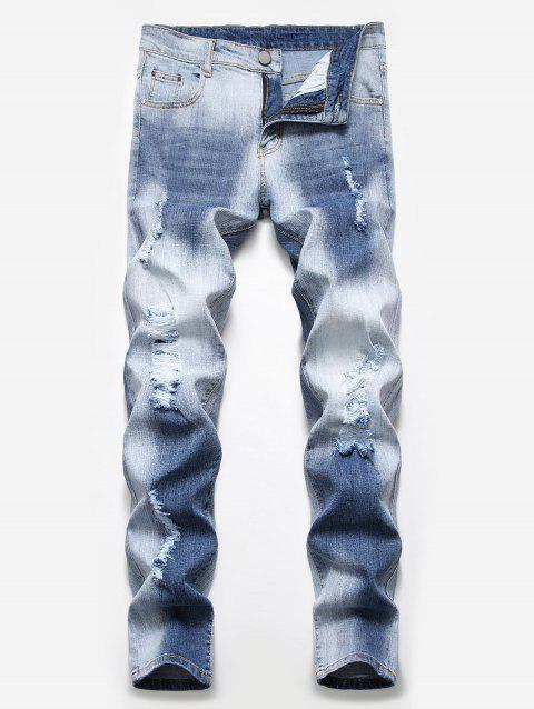 Fade Washed Ripped Pencil Jeans - BLUE GRAY 42