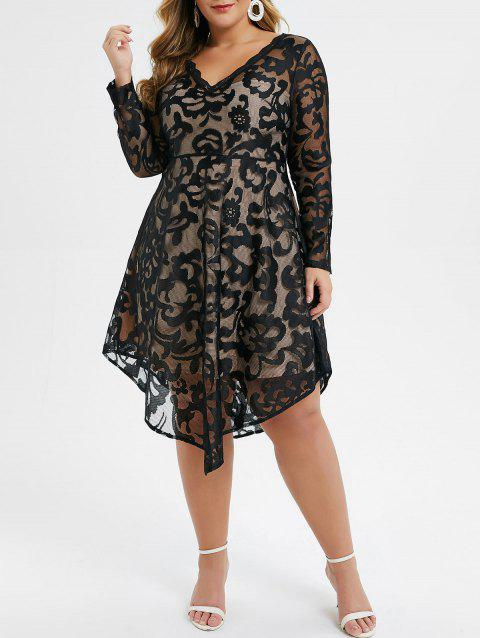 Plus Size Asymmetrical See Through Fit and Flare Dress - BLACK 5X