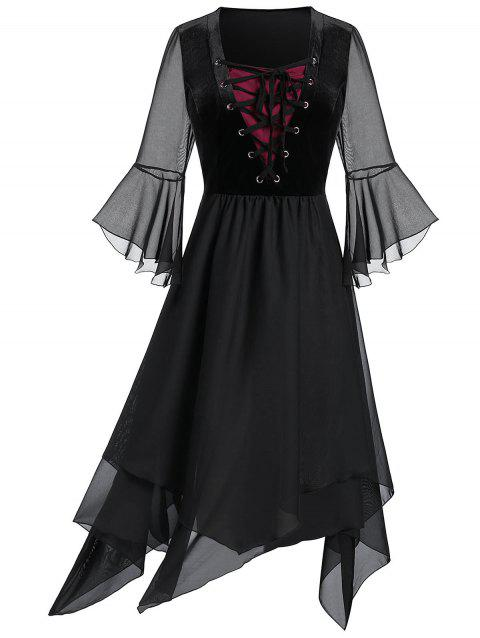 Plus Size Lace Up Bell Sleeve Layer Handkerchief Punk Dress - BLACK L