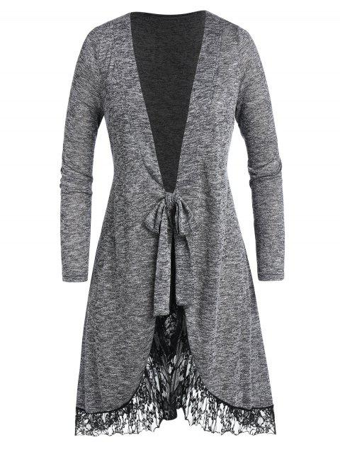 Plus Size Lace Panel Marled Knotted Long Cardigan - JET GRAY 1X