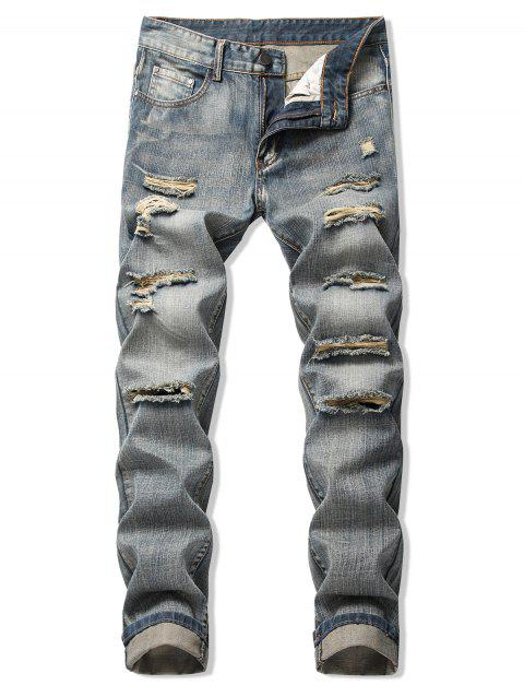 Destroy Wash Faded Long Straight Jeans - PUCE 32