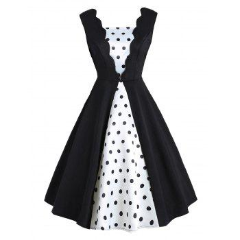 vintage polka dot two tone fit and flare dress