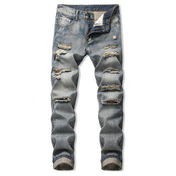 Destroy Wash Faded Long Straight Jeans