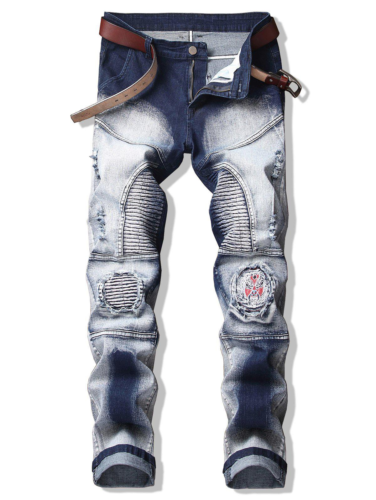 Chinese Opera Mask Patch Pencil Jeans - BLUE 32