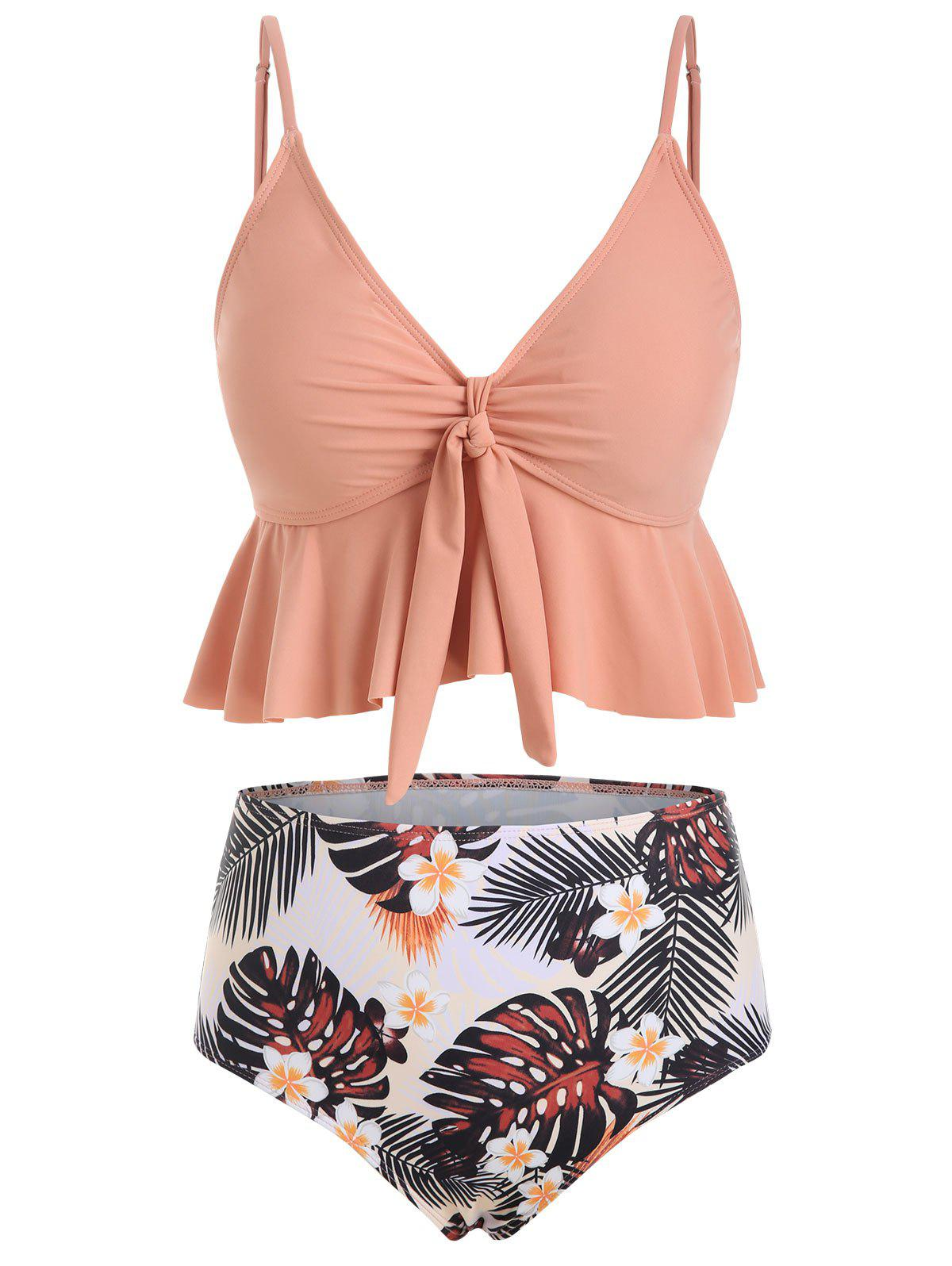 Floral Leaves Print Knotted Tankini Swimwear - ROSE L