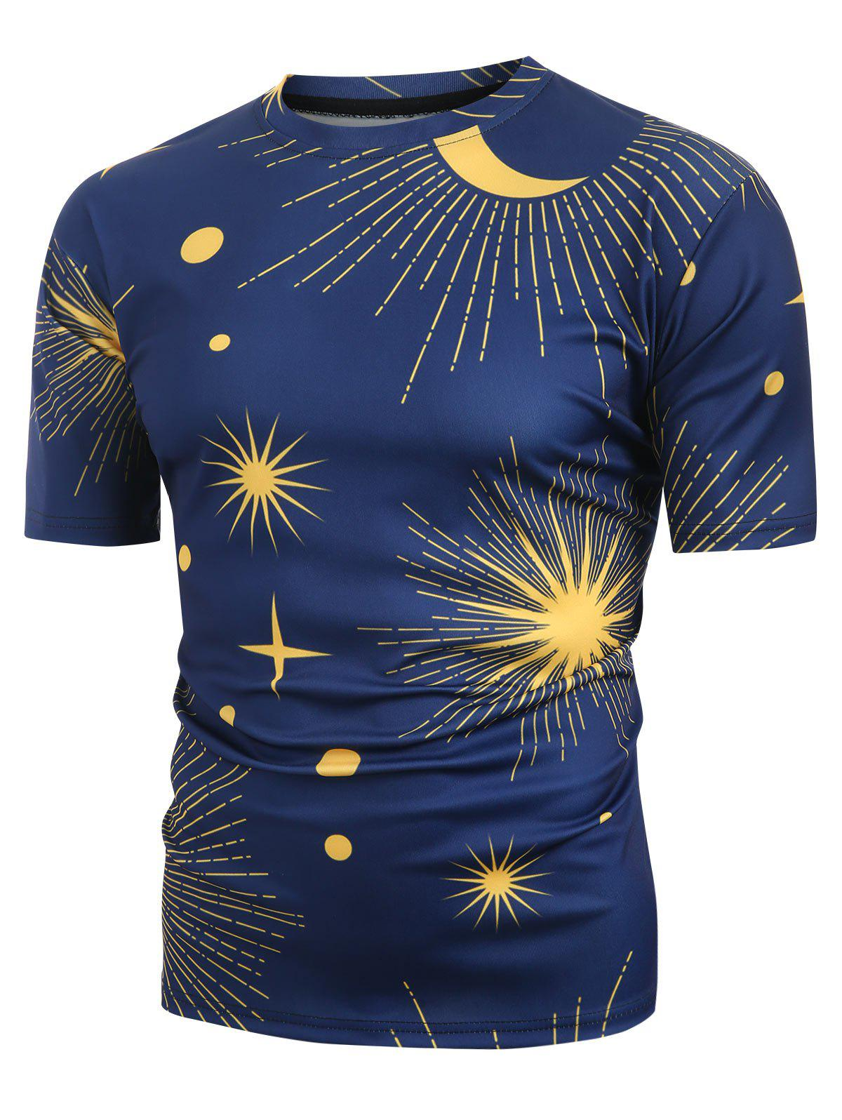 Sun and Moon Printed Short Sleeves T-shirt - CADETBLUE L