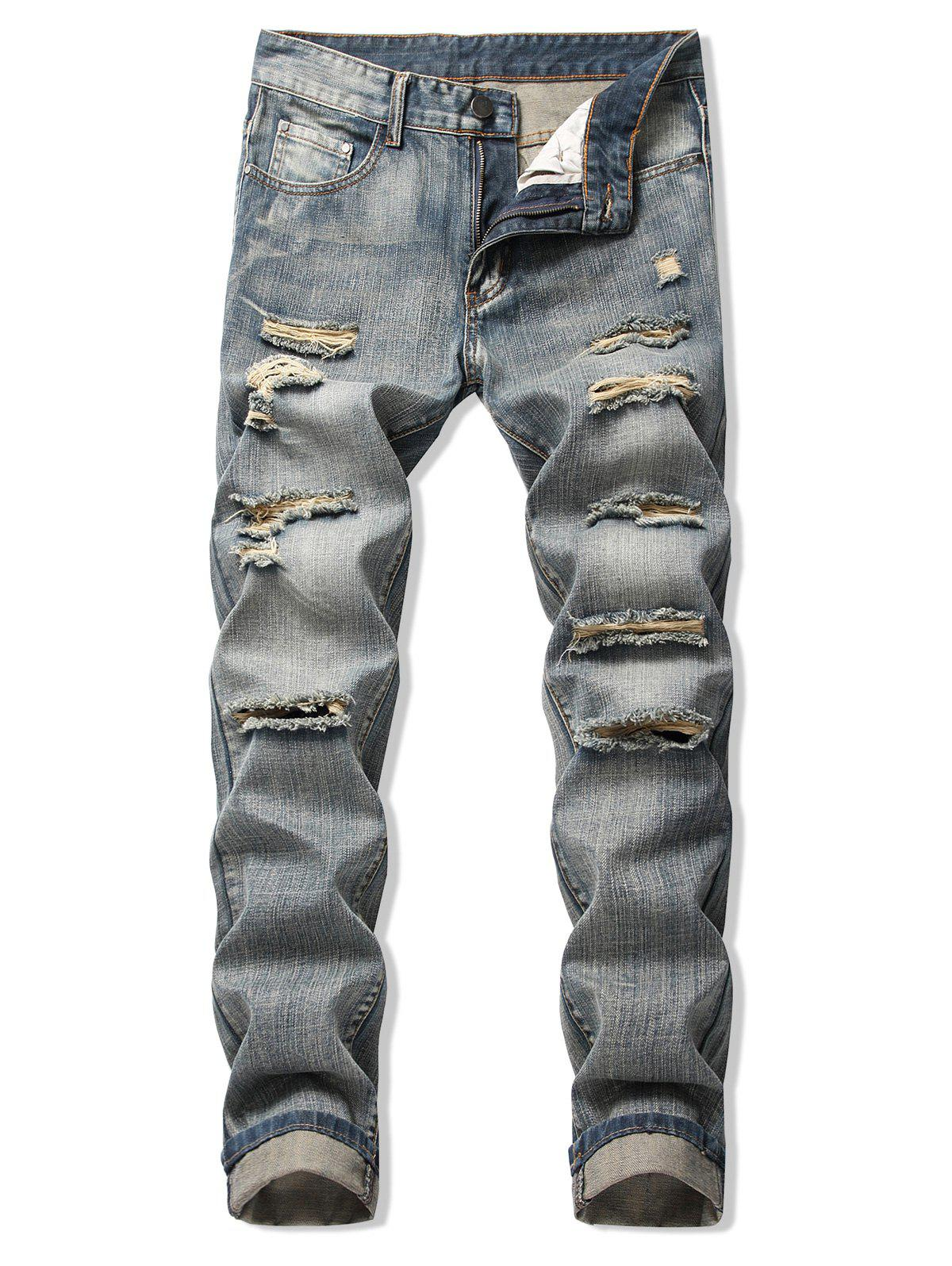 Destroy Wash Faded Long Straight Jeans - PUCE 42