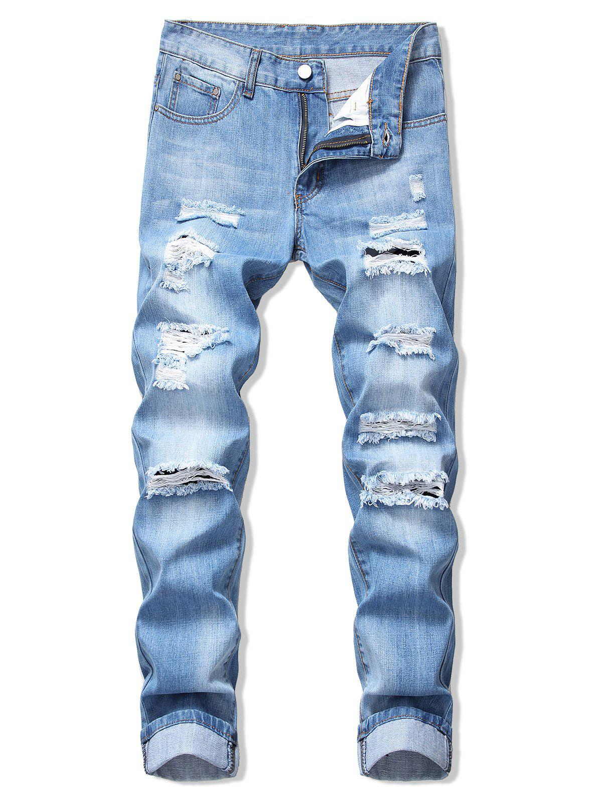 Destroy Wash Faded Long Straight Jeans - DENIM BLUE 40