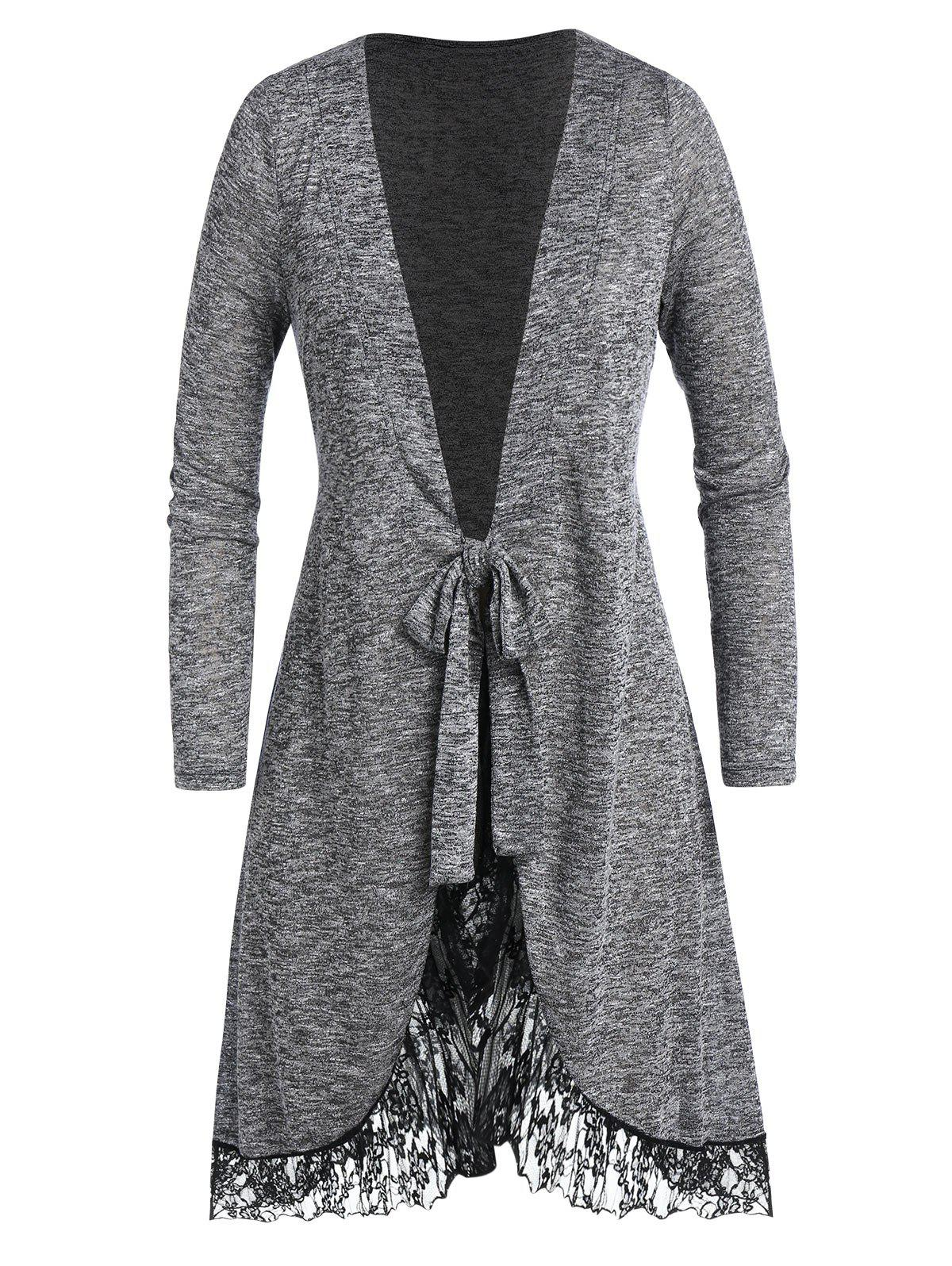 Plus Size Lace Panel Marled Knotted Long Cardigan - JET GRAY 3X