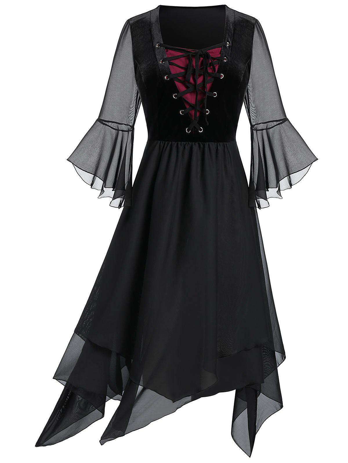 Plus Size Lace Up Bell Sleeve Layer Handkerchief Punk Dress - BLACK 2X
