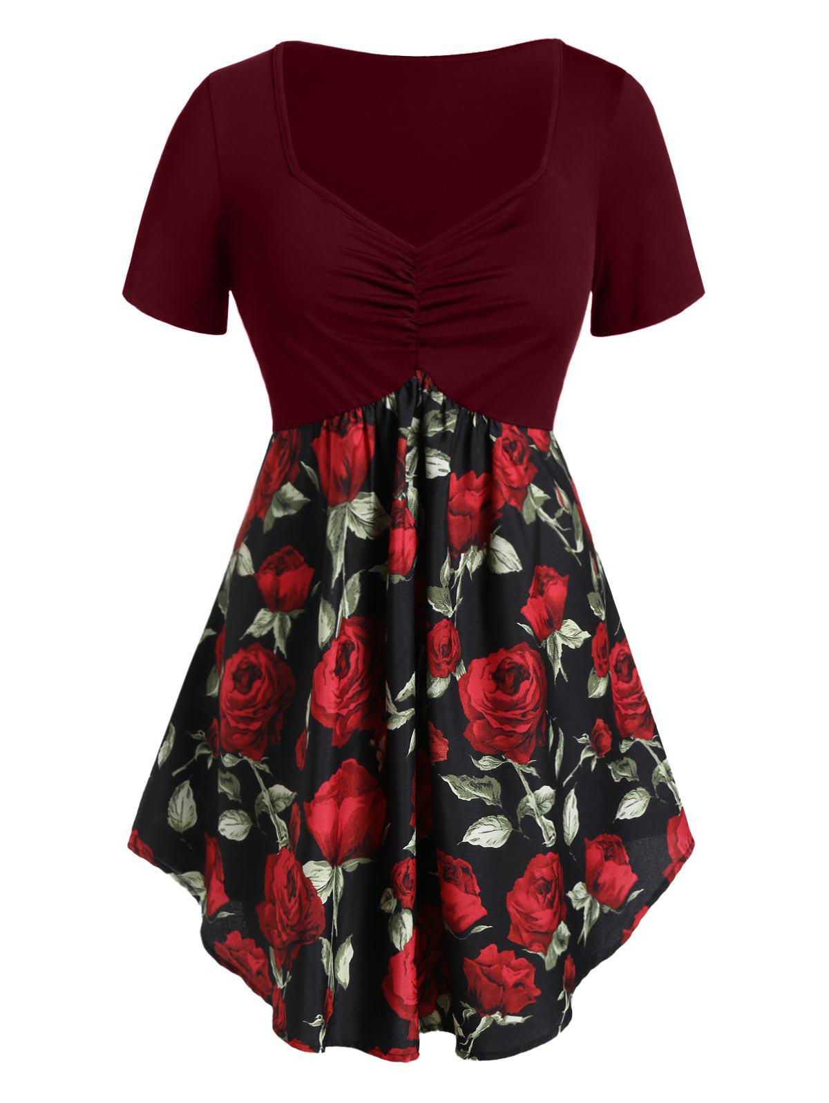 Plus Size Cinched Rose Print Tunic T Shirt - RED WINE 4X