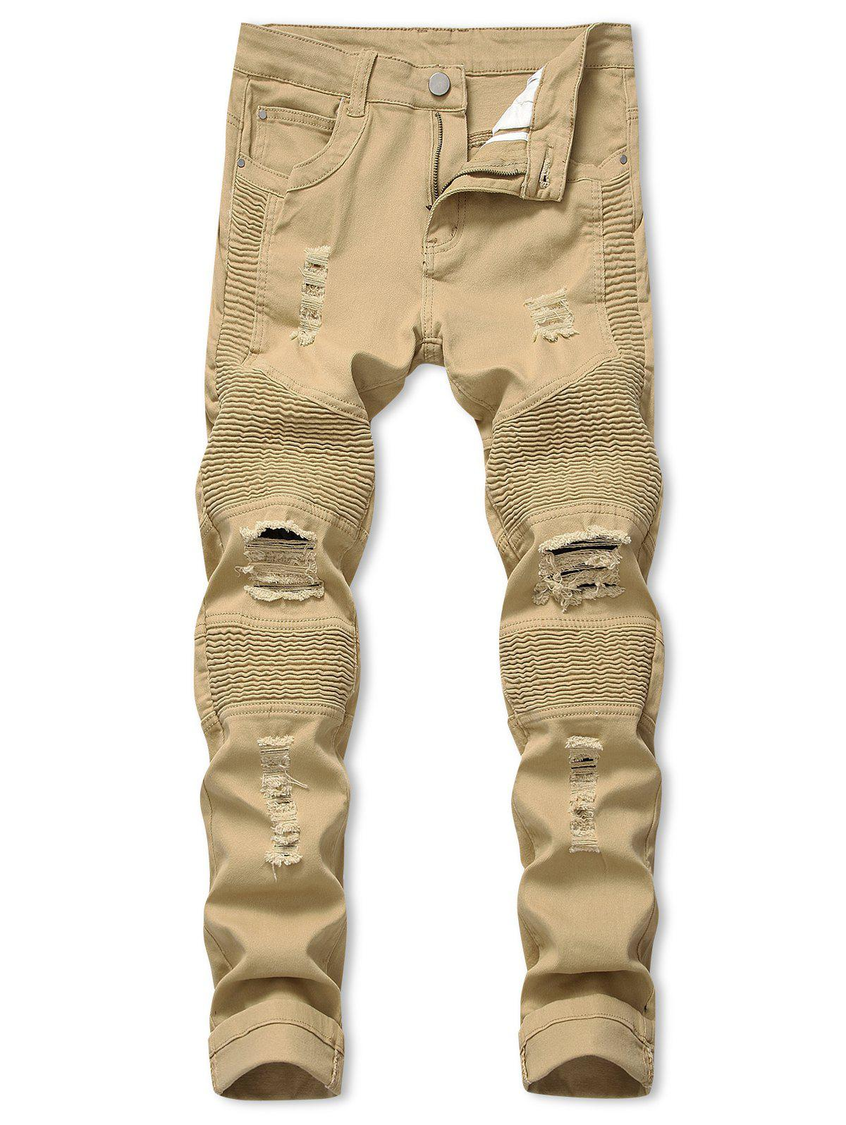 Long Straight Pleated Patchwork Spliced Ripped Jeans - KHAKI 36