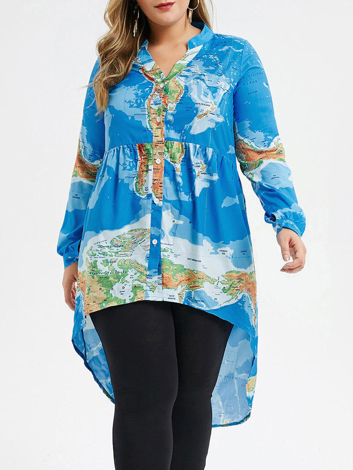 Plus Size Map Print High Low Blouse - BLUE 3X