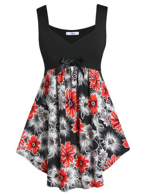 Plus Size Sweetheart Neck Floral Print Curved Tank Top - BLACK L