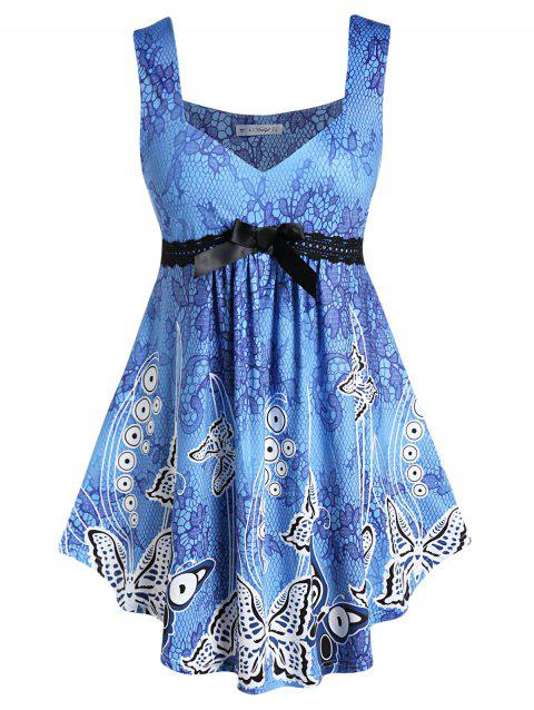 Plus Size Sweetheart Neck Floral Print Curved Tank Top - BLUE IVY 2X